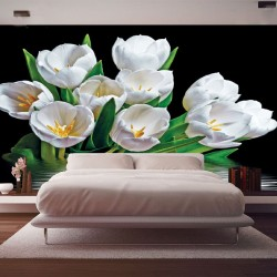 Photo mural bouquet tulips with water reflection black background