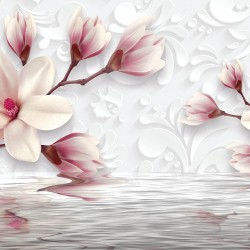 Photo mural gentle magnolia with water reflection in pink nuance