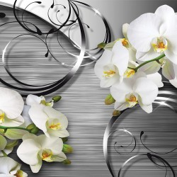 Photo mural twigs of white orchids on a geometric background