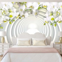 Photo mural 3D tunnel with an arch of white orchids