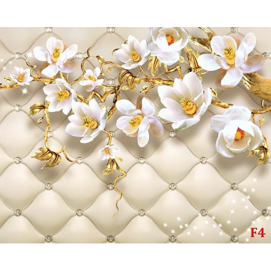 Photo mural 3D flowers of upholstery leather with diamonds