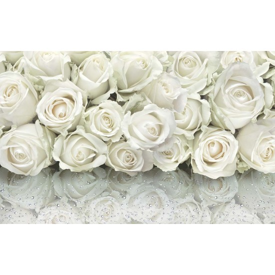 Photo mural bouquet of delicate roses with a mirror effect drops 2 nuance