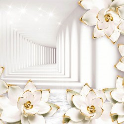 Photo mural tunnel with white 3D porcelain flowers