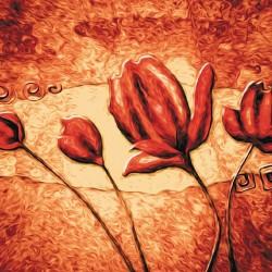 Wallpapers mural flaming art painted tulips