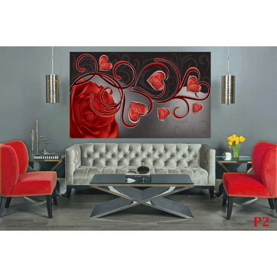 Photo mural abstract roses with red hearts