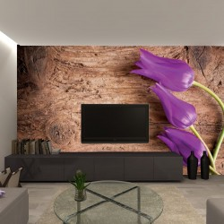Photo mural purple tulips on a wooden based