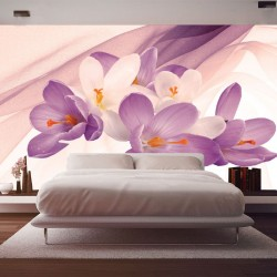 Photo mural light flowers on a background of purple silk shade