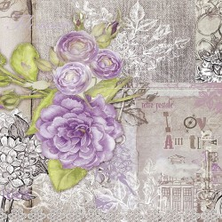 Wall mural retro card with purple roses in vintage style