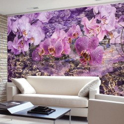 Photo murals purple orchids and submerged rocks