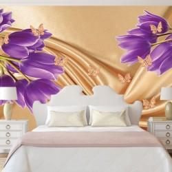 Wall mural purple tulips of a beige silk with butterflies