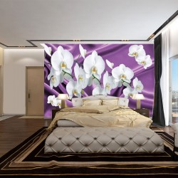 Photo mural white orchids in purple silk base
