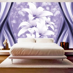 Wall mural abstract with spheres and lilies in purple and white