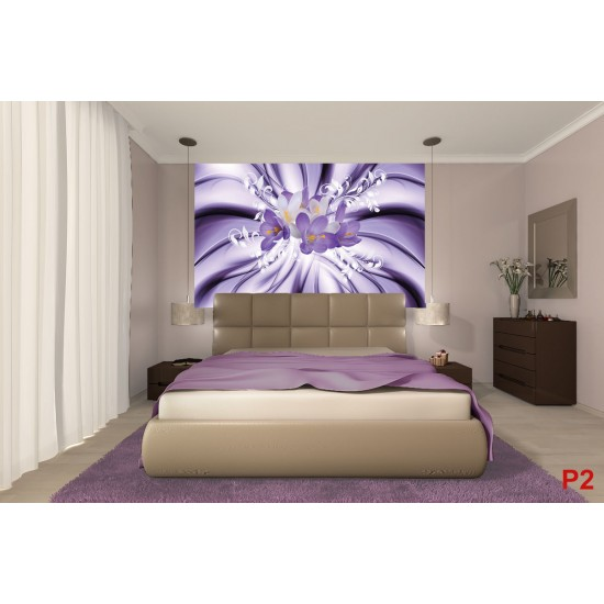 Photo mural abstract composition with purple flowers and ornaments