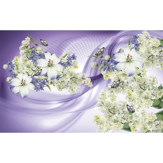Photo mural composition of flowers and white lilac on 2colors