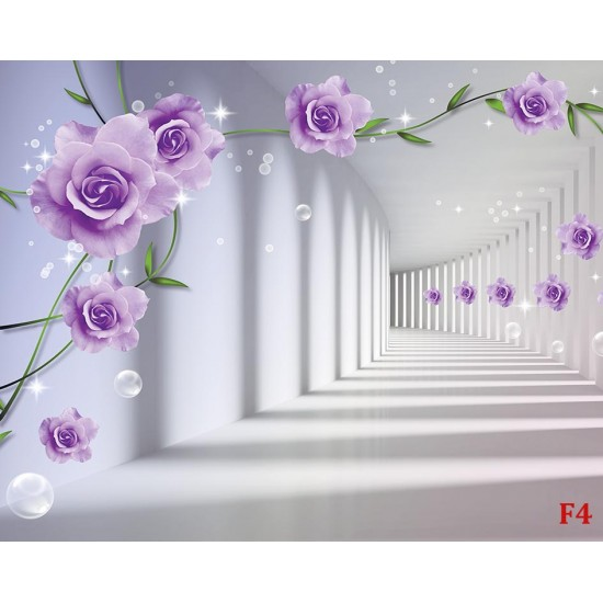 Photo mural 3d tunnel with purple roses with spectacular bubbles