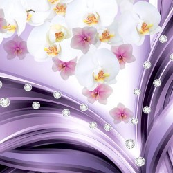 Photo mural purple waves with flowers and diamonds