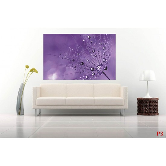 Wall mural big dandelion on a purple background