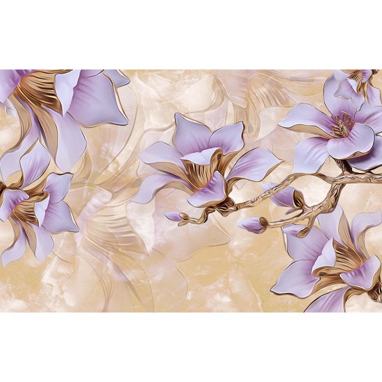 Photo mural 3g porcelain purple flowers on a plaster base