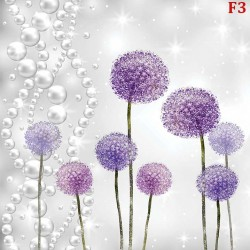 Wall mural purple painted dandelion pattern with pearls