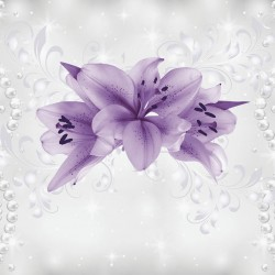 Wall mural purple flowers model with delicate pearls abstract