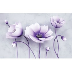 Photo mural embossed 3d flowers threesome in 2 colors