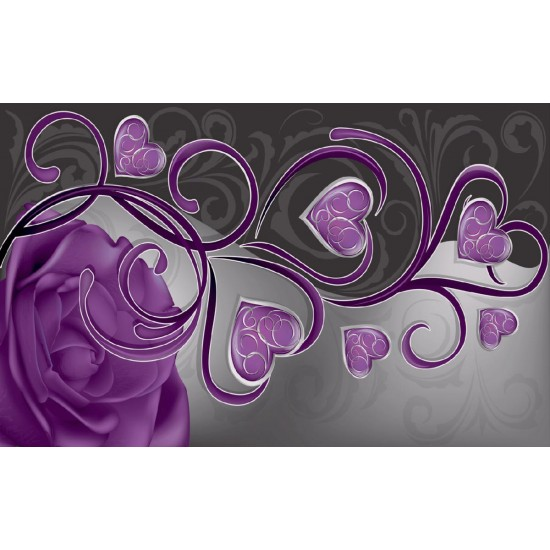 Photo mural abstract roses with purple heart