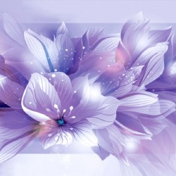 Wall mural composition of flowers in purple gamut
