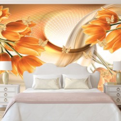 Wallpapers 3D abstract of orange tulips and butterflies