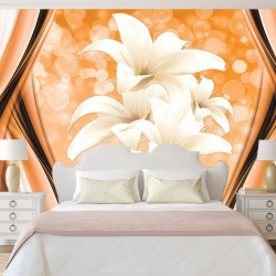 Wall mural abstract with spheres and lilies in the orange range