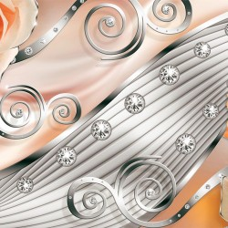 Wallpapers mural modern abstraction with orange metallic roses