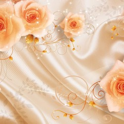 Wallpapers mural 3d effect roses on silk with ornaments