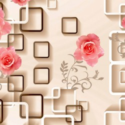 Wallpapers 3d composition wall beige cubes with roses in 2 colors