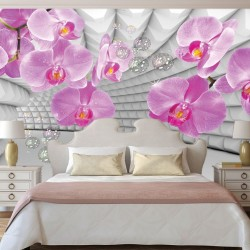 Wallpaper pink orchids in 3d grey tunnel background