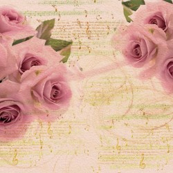 Wallpapers pink roses vintige style with notes