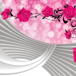 Photo murals composition with pink roses and spiral 3D