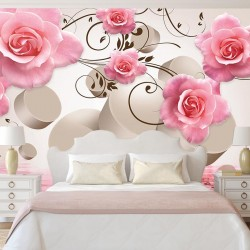 Photo murals composition with pink roses and 3D elements