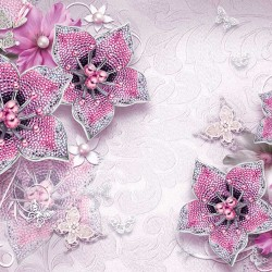 Photo murals diamond jewelery in pink with butterflies and pearls