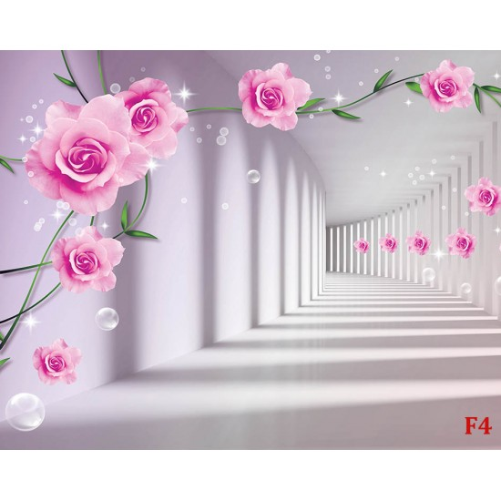 Photo murals 3d tunnel with pink roses with spectacular bubbles
