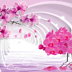 Photo murals 3D tunnel with pink orchids and twig magnolia