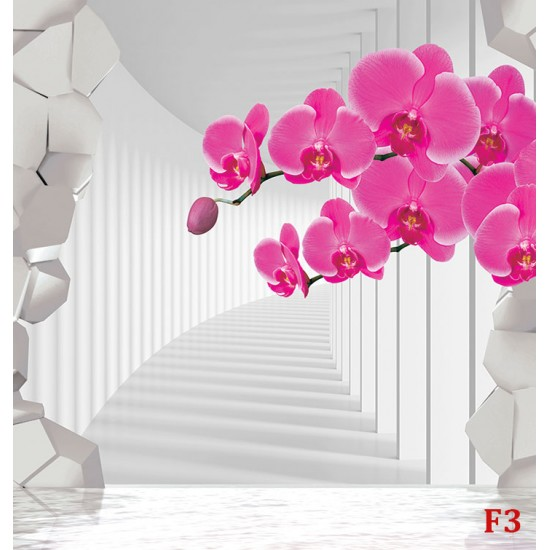 Pfoto murals 3d effect tunnel broken wall and twig orchid 2 colors