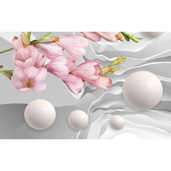 Photo murals abstract painted flower 3d effect wall with spheres 2 colors