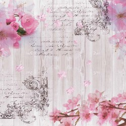 Photo murals vintage wood-based composition with spring color