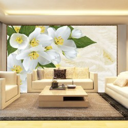 Photo murals white flowers on a background of feathers
