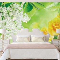 Photo murals color combination of white and lilac and roses