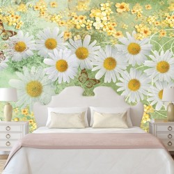 Photo murals Vintage composition with white daisies in green