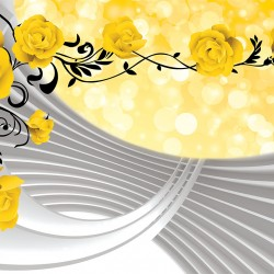 Photo murals composition with yellow roses and spiral 3D