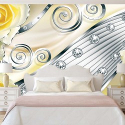 Photo mural modern abstraction with yellow metallic roses