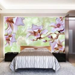 Photo mural 3D porcelain flowers on a plaster base