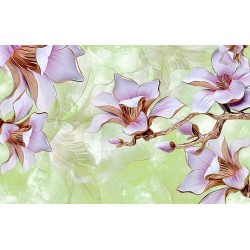 Photo mural 3D porcelain flowers on a plaster base