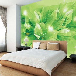 Wall mural composition lilium in green